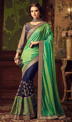 Half Green Silk Half Blue Nett Embroidered Saree