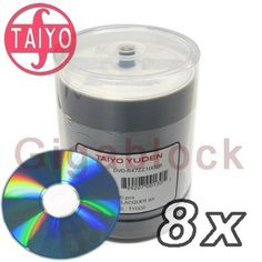 100 JVC Taiyo Yuden 8X DVD-R 4.7GB Silver Thermal Lacquer by Taiyo Yuden. $28.95. These JVC Taiyo Yuden 4.7GB General Purpose DVD-R are for data and video and come on 50 disc spindle. These disc are compatible with DVD-R burners that use DVD-R media for general purpose. These DVD-R's are are very high quality and reliable. Media Type: DVD-R Native Capacity: 4.7 GB / 120 Minutes Video Format: DVD-R General Purpose (8x) Remarks: JVC Taiyo Yuden DVD-R with Shiny Silver on...