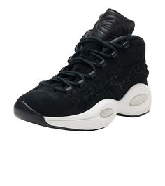 31a813eac14  REEBOK  REEBOK Question Mid X Hall of Fame sneaker  Lace closure  Premium  leather and suede upper  Braided stripe across the outer panel  Allen  Iverson ...