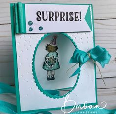 handmade birthday card: Cutie Surprise… a Billie Moan card ... teal and white ... like how she framed the oval porthole with die cut small scalloped band ... Stampin'Up!