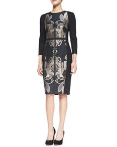 Tasiele 3/4-Sleeve Dress W/ Brocade Front by Ted Baker London at Neiman Marcus.