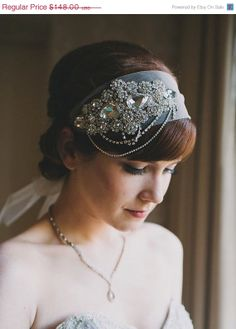 SALE, Crystal Headband Veil Head Wrap Art Deco Vintage Inspired Tulle Veil Great Gatsby Wedding Veil 1920's Style - Made to Order - WHITNEY on Etsy, $150.41 AUD