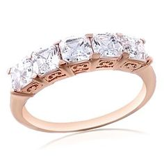 Asscher Cut CZ 5 Stone Anniversary Band Ring Rose Gold Over 925 Silver # Free Stud Earrings by JewelryHub on Opensky
