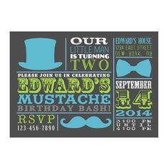 Top Hat Bow Tie and Mustache Birthday Party by 8Hollydays on Etsy, $15.00
