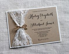 Rustic chic Lace Wedding Invitation, The perfect mix of vintage lace, rustic and elegance! The wedding invitation is printed on kraft card stock paper and then layered on ivory card stock, and wrapped with vintage lace and tied with a twine bow and a pearl accent. Coordinating items