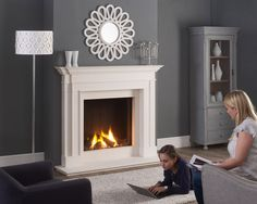 Tl73h Trimless Gas Fire  Lamel Chamber Ultra real ceramic logs  Mantel - Clarence in Agean Limestone