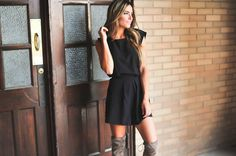 Even better from the back! This Tie Back Black Romper is ADORABLE with our Taupe Thigh High Boots {$46} Shop this look at DottieCouture.com