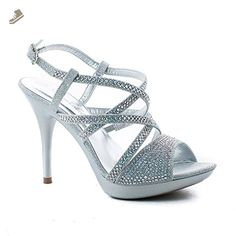 20182017 Sandals De Blossom Collection Sanyo 202 Strappy Glitter Bling Rhinestone Stiletto Heel Platform Sandal Hot Sale Online