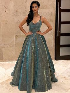 Spaghetti Straps Sage Sleeveless Long Prom Dress with Sequin Evening Dress - Evening Dresses Sequin Evening Dresses, Elegant Prom Dresses, Sweet 16 Dresses, A Line Prom Dresses, Evening Gowns, Party Dresses, Long Dresses, Dresses Dresses, Dress Prom