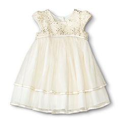 Infant Toddler Girls' Gold Sparkle Flower Girl Dress - Champagne