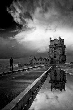 The tower of Belem, Lisbon, Portugal Beautiful Places To Visit, Wonderful Places, Landscape Photography, Travel Photography, Cities, Great Shots, Black And White Photography, Travel Photos, Cool Pictures