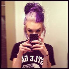 I don't usually like the half and half, but with the purple, light blonde and messy bun!!