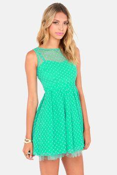 Climbing Rose Lace Sea Green Dress