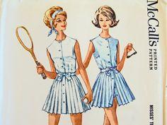 Tennis Dress Sewing Pattern 1960's UNCUT Size 14 Bust 34 McCalls 6825 Pleated Skirt #vintagetennisdress