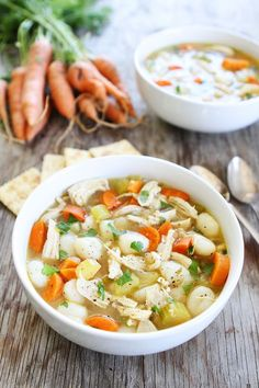 Chicken Gnocchi Soup Recipe on twopeasandtheirpod.com If you like chicken noodle soup, you will love this easy chicken gnocchi soup!