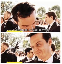 """Sherlock or Doctor Who?""  That face = perfect answer.  Andrew Scott, why are you so brilliant? @Isabel Feinour"