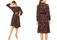 1980s Japanese vintage wheat print dress,japanese black printed sundress, long sleeve printed dress, black japan tea dress, oriental dress by VintageCosmopolitan on Etsy
