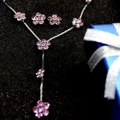 Natural Light Amethyst virág kristály krómozás nyaklánc szett NS2203D