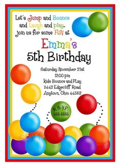 Ball Pit  Invitations, Ball Pit Party, Birthday Party, Children, Kids,Notecards, address labels, stickers