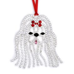 Shih Tzu crystal rhinestone Christmas tree ornament, imported crystals
