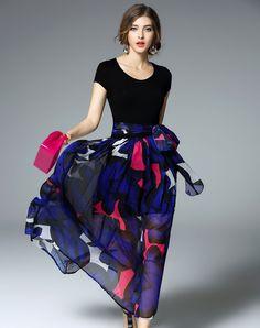 #AdoreWe #VIPme Swing Dresses - Ewheat Cap Sleeve Printed Swing Maxi Beach Dress - AdoreWe.com