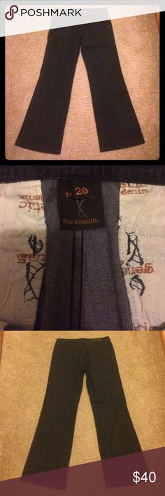 "Genetic Denim Trouser Jeans Size 28 Petite Slacks with a lightweight jean fabric by Genetic Denim, size 28.  Tab closure, 2 front pockets, back welt pockets.  Flared at the bottom Hem.  Inseam is approximately 29.5,"" professionally redone. Genetic Denim Pants Trousers"