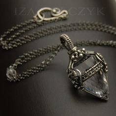Wire wrapped crystal drop necklace by Iza Malczyk