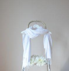 White Shawl Snow White Wrap Wedding Shawl Solid by RosaShawls