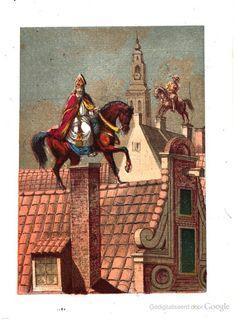 St. Nikolaas en zijn knecht op de daken