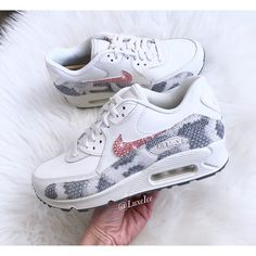 Nike Air Max 90 Premium Customized With Swarovski Crystals... ($180) ❤ liked on Polyvore featuring shoes, silver, sneakers & athletic shoes, women's shoes, white colour shoes, swarovski crystal shoes, embellished shoes, decorating white shoes and polish shoes