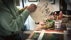 Mitch Lyons, pioneer of the clay monoprint process, demonstrates highlights of his process.