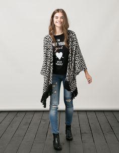 Black shirt, jeans, black boots, kimono . Boho