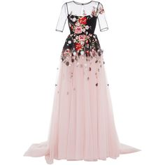 Georges Hobeika Short Sleeve Floral Gown ($7,020) ❤ liked on Polyvore featuring dresses, gowns, long dresses, floral, floral dresses, sheer floral dress, floral embroidered gown, pink gown and sheer gown