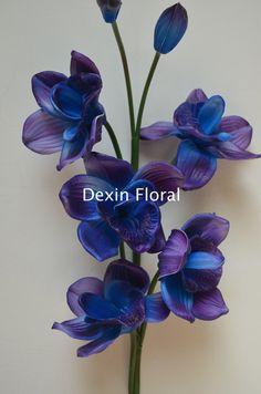 NEW!! Natural Real Touch Artificial Blue Purple Cymbidium Orchids Single Stems Centerpieces, Decorations Bridal Bouquets Wedding flowers