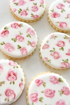 Whipped Bakeshops custom painted rose cookies Inquire today for cookie favors! We ship cookies across the United States Flower Sugar Cookies, Rose Cookies, Fancy Cookies, Iced Cookies, Easter Cookies, Royal Icing Cookies, Cupcake Cookies, Cookie Favors, Summer Cookies