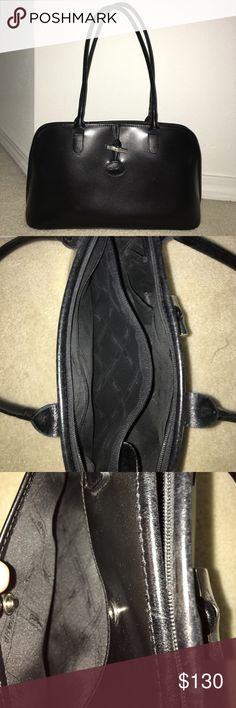Authentic Longchamp Purse I LOVE OFFERS! Black leather longchamp purse. Used but upkept in good condition. silver buttons and hook. one button pocket on back of bag and three pockets inside bag. nylon inside. zip up bag. Longchamp Bags Shoulder Bags