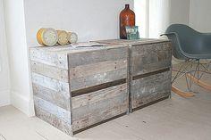 Tables Home Furniture  Pair  in Reclaimed Wood Nightstand Set in Grey. $699.00, via Etsy.
