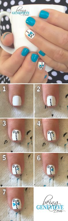 Dainty Dragonflyl | Step-by-step tutorial on how to create this dainty dragonfly nail art design. This is the perfect manicure for any summer nail design. . .