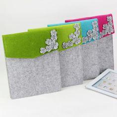 2087 designer 3D flower felt fashion ipad bag