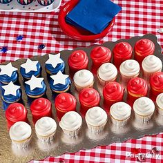 American Flag Cupcakes Display Idea - Patriotic Sweets and Treats Ideas - of July Party Ideas - Holiday Party Ideas - Party Ideas - Party City Cupcake Table, Cupcake Flags, Cupcake Display, Cupcake Cakes, White Cupcakes, Cupcake Recipes, Mini Cupcakes, Holiday Cupcakes, Cheesecake Cupcakes