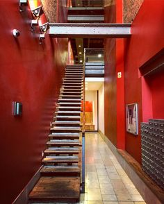 Stairs leading to apartments #stairs #industrialdesign #industrial #design #interior #interiordesign #style #inspiration #art #building #architecture #archilovers #lookingup #upstairs #mcr #mcr_collective #red #marble #wood #steel #brick #idea #home #homeidea #homedecor #love #amazing #picoftheday #instagood #realestate by thesevenbees
