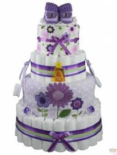 Lavish Lavender baby girl diaper cake