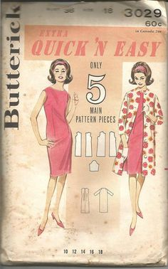 aceff794e39f 1960s Sheath Sleeveless Dress Princess Seams Jewel Neck Coat Quick   Easy  Butterick 3029 Size 18 Bust 38 Women s Vintage Sewing Patterns
