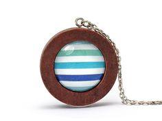 Kette Summerfeelin' N°017 · Wooden Pendant Long Necklace Stripes von FunStyle auf DaWanda.com
