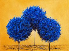 Abstract Art Blue Trees Print Photo Print of Bold Blue by BingArt