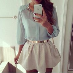 Cute skirt mixed with an iceblue top.