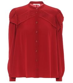 """Saturated in a passionate shade of """"Copper"""" red, this shirt from Chloé will add depth to any ensemble. It's been crafted from silk crêpe de chine into a relaxed silhouette with a banded collar and button front. But its defining . Chloe, Satin Top, Silk Satin, Isabel Marant, Leopard Jacket, Leopard Print Top, Longsleeve, Wool Pants, Silk Crepe"""