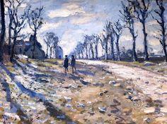 Route, effet de neige soleil couchant, Claude Monet