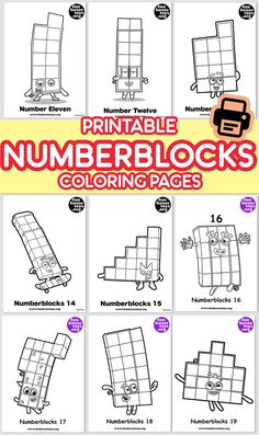 Have some fun with our collection of numberblocks printables. Find Printable Coloring Pages from Numberblocks here. Cool Coloring Pages, Printable Coloring Pages, Coloring Pages For Kids, Fun Printables For Kids, Preschool Printables, Educational Crafts, Educational Videos, Toddler Crafts, Toddler Activities