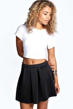 $8, Black Skater Skirt: Boohoo Tianna Box Pleat Colour Pop Skater Skirt. Sold by BooHoo. Click for more info: https://lookastic.com/women/shop_items/131937/redirect
